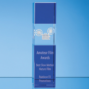 Clear & Cobalt Blue Optical Crystal Square Column Award