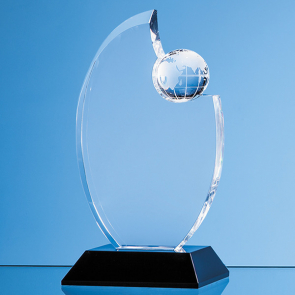 Optical Crystal Globe Award Mounted on an Onyx Black Base