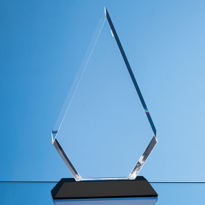 Optical Crystal Facet Diamond Award on an Onyx Black Base