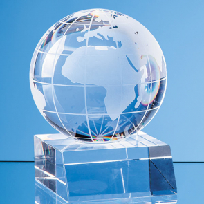 Optical Crystal Globe Mounted on a Clear Crystal Base