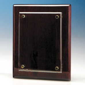 Clear Rectangle mounted on a Rosewood Plaque