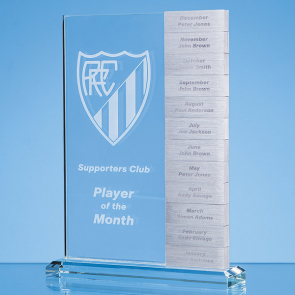 Clear Glass 'Monthly' Rectangle Award with 12 x Winners Plaques