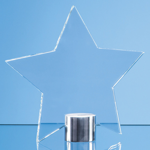 Clear Glass Star Mounted on a Brushed Aluminium Base