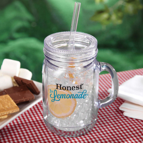 Reusable Plastic Mason Branded Drinking Jar
