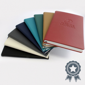 A5 Casebound E Leather Recycled Environmentally Friendly Notebook with Elastic Strap