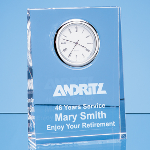 Optical Crystal Tapered Rectangle Clock