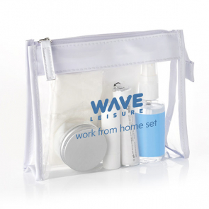 Work From Home Set in a Clear PVC White Trim Bag
