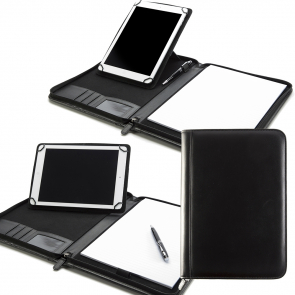 Sandringham Nappa Leather A4 Zipped Adjustable Tablet Holder with a Multi Position Tablet Stand