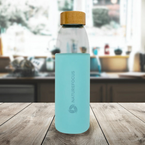 Kai 540ml Glass Sport Bottle with Wood Lid