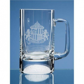 Beer Tankard 565ml clear with football bottom (1pt)