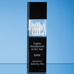 Clear & Onyx Black Optical Crystal Square Column Award