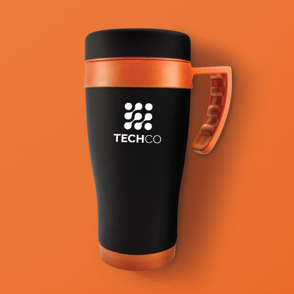 Oregan Black Branded Travel Mug