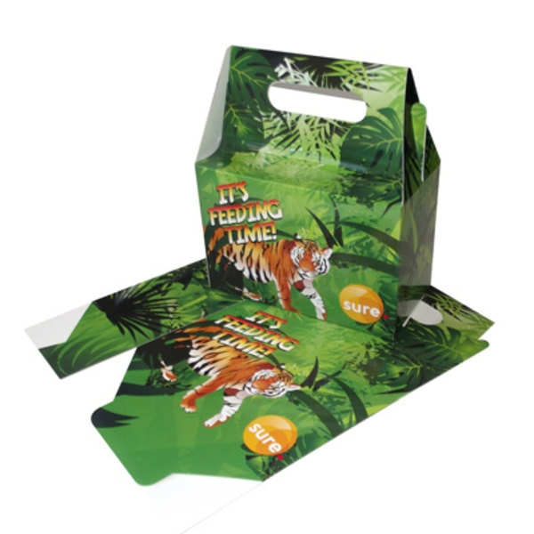 Takeaway Lunchbox made of laminated plastic printed with an image of a tiger in the jungle