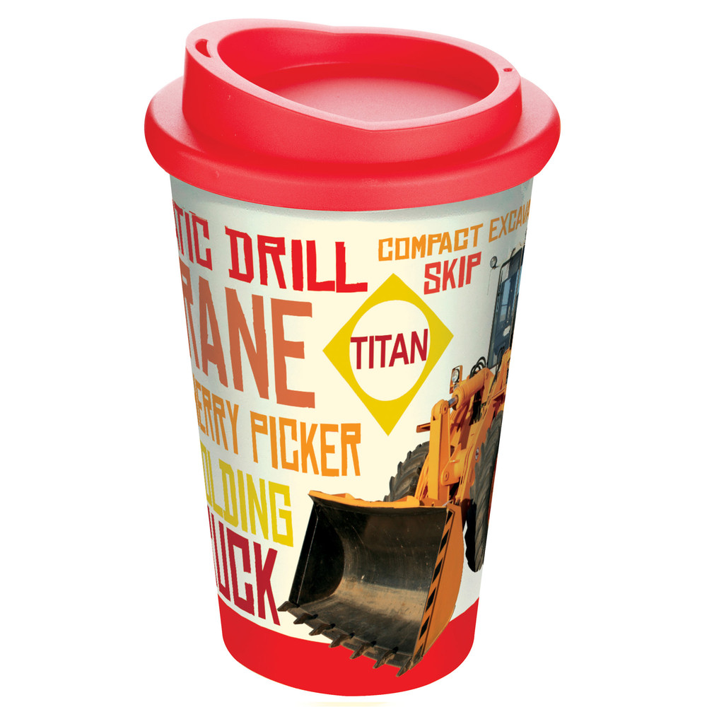 A double-walled plastic thermal mug with a full colour, wraparound design.