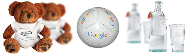 Promotional soft toy, football and drinking glasses