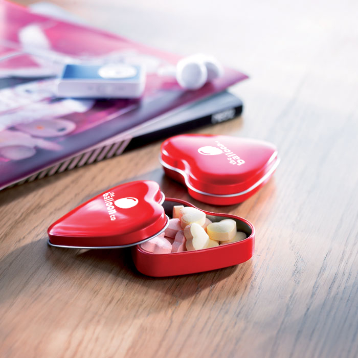 Heart Shaped Tin filled with mints - A fresh option for promotional food and drink