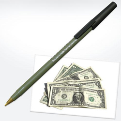 Pen made from recycled money