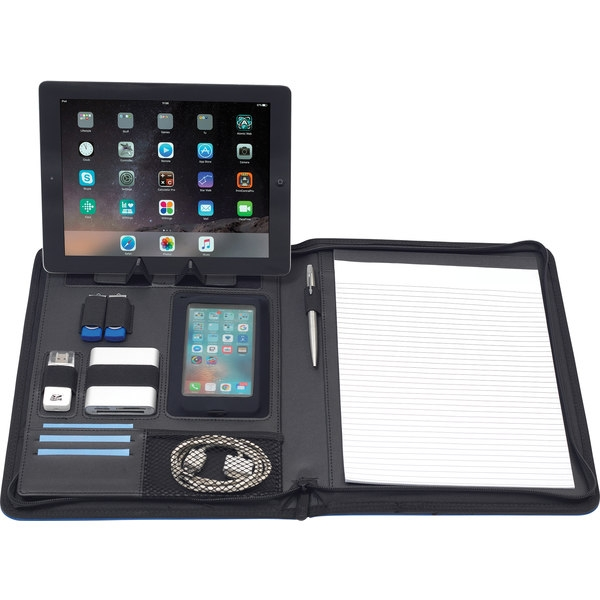 Picture of Kemsing A4 Tabletfolio which comes with tablet/phone holder and displayer, organiser section with pockets, pen loop, USB Holders and 20 page lined notebook