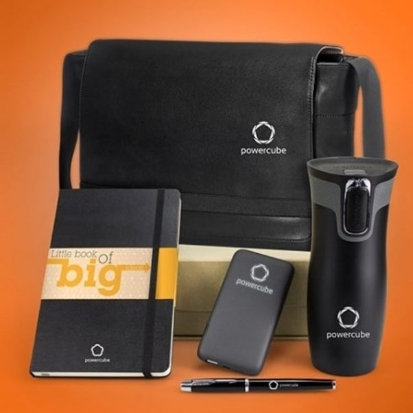 Everything Executive pack with Moleskine notebook, Contigo West Loop Travel Mug, Parker IM Rollerball Pen, Grey Bubble Bang 5000 Powerbank, and Moleskine messenger bag
