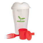 Salad Shaker - Plastic salad shaker, 3 pieces with a fork and dressing container.
