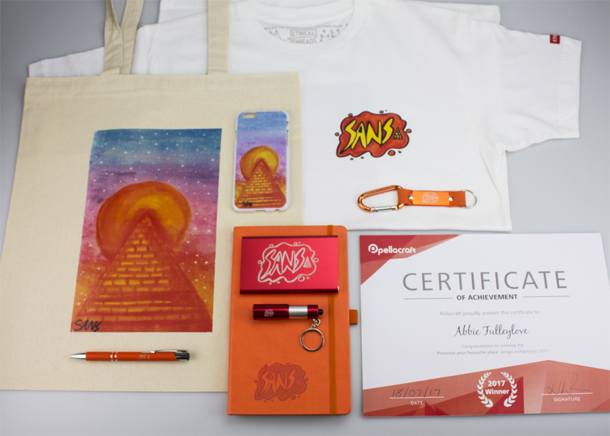 Abbi's winning designs featured on a range of products.