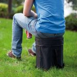 Use this as a seat and a cooler! It also comes with a strap and is foldable, which makes it easier to carry.
