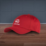 a red bamboo panel cap