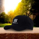 a black polyester cap
