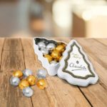 Branded Mini Christmas Tree Tin with Foil Wrapped Chocolate Balls