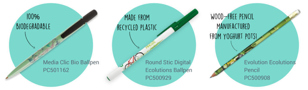 BIC® fully recycled, sustainable and biodegradable pens.