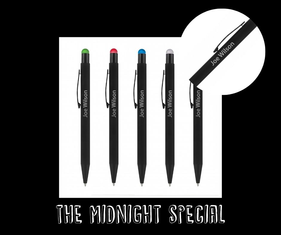 personalised branded products - midnight bowie pen